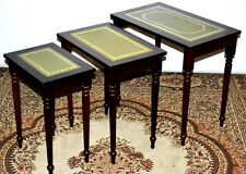 Antique Georgian Style Nest of 3 Leather Top Coffee Side End Tables [PL3111]