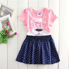 Lovely Kids Girls Peppa Pig Short Sleeve Pink White Navy Cotton Party Dress