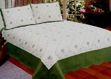 Claudia Green Ivory Queen King 3 Piece Quilt Set Shams Floral Scallop Patchwork