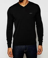 NEW ARMANI JEANS AJ LOGO BLACK FINE KNIT V-NECK SLIM FIT JUMPER SIZE XL