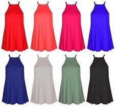 Womens Ladies High Neck Cami Vest Camisole Strappy Swing Top Dress Plus Size