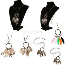 Bohemian Dream Catcher Feather Leather Cord Pendant Necklace Sweater Decor