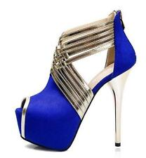 Womens Sexy Stilettos Peep toe Stripe Sandals High Heels stage prom party Shoes