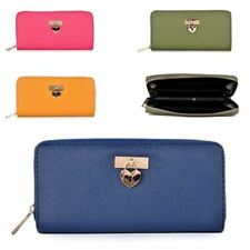 Womens Heart Charm Long Clutch Wallet Purse Zipped Closure