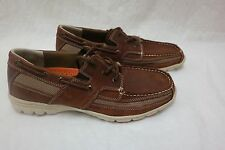 New!!  Mens Thom McAn Keel Boat Shoe  37530 Brown Lace up Oxford J6