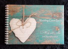 A5 Personalised Guest Book Vintage/Rustic Design in Window Box + Optional Sign