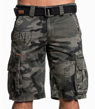 Affliction Black Premium - THE GREAT GENERAL - Men's Cargo Shorts -  Camo Green