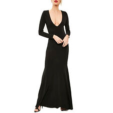 Women Black Sexy Plunge Long Sleeve Open Back Slim Evening Party Gown Maxi Dress