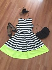 Rosita Neon Striped Contrast Hem Skater Dress
