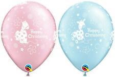 "Qualatex 11"" Cute Christening Giraffe/Pony Helium/Air Balloons Blue/Pink"
