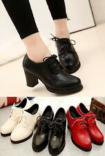 Women's High Heels Booties Platform Ankle Lace Up  thick heel round toe shoes