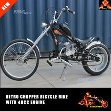 Black / Red Vintage Chopper Low Rider Dragster Bicycle With 2 Stroke 48cc Engine