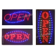 Hot STATIC LED OPEN Shop Sign Signs Neon Display Window Hanging Light