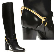 sz 35.5 39 NEW GUCCI Black TESS Leather HORSEBIT RIDING Mid Heels KNEE BOOTS NIB