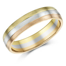 9ct Gold Wedding Ring 3 Colour Court Shape Wedding Ring 5mm Band