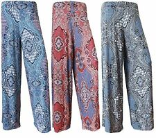 Womens Ladies Plus Size Printed Palazzo Trousers Summer Loose Fit Pants Wide Leg