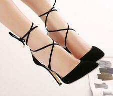 Hot Womens High Heel Strappy Lace Up Stiletto Pumps Sandals Party OL dress Shoes