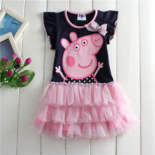 NEW Lovely Kids Girls Peppa Pig Short Sleeve Cotton Party Dress 18M-6 Years