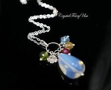 Sterling Silver Opal Necklace - Natural White Opal Tassel Necklace - Crystal Hea