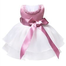Toddler Kid Baby Princess Girl Pageant Wedding Party Tulle Tutu Bow Dress 0-9 M