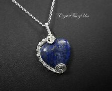 Lapis Lazuli Necklace - Sterling Silver - Wire Wrapped Lapis Lazuli Heart Pendan
