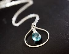 Apatite Necklace, Tiny Blue Teardrop Apatite Sterling Silver Briolette Pendant