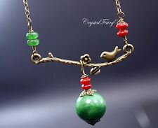 Retro Emerald Jade Necklace - Bronze Bird Necklace - May Birthstone, Coral Charm