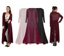 Womens Chiffon Waterfall Open Front Long Sleeve See Through Maxi Cardigan Tops