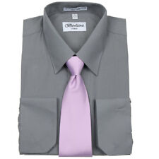 Men's Berlioni Business French Cuff Tie Set Charcoal Dress Shirt And Lavender Ti