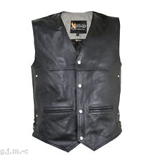 Xelement XS1927 Men's Premium Leather 4 Snap Motorcycle Vest Room for patches