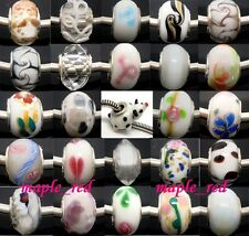 Mixed White Fashion Lampwork Glass Big Hole Beads Fit European Charm Bracelet