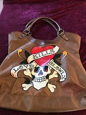 "DON ""ED"" HARDY - BROWN TOTE PURSE Skull ""LOVE KILLS SLOWLY"" Awesome Tote"