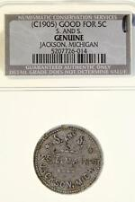 Jackson, Michigan ~ S. AND S. // GOOD FOR 5c AT THE BAR ~ unlisted trade token