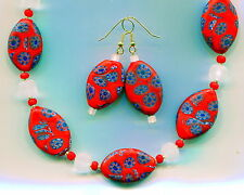 Vintage Murano Venetian Millefiori Bead Necklace & Earrings, 5 colors N357