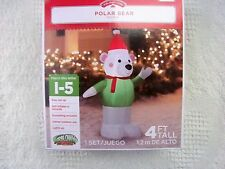 POLAR BEAR CHRISTMAS INFLATABLE 4 FT TALL YARD DECORATION - NEW IN BOX