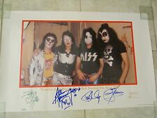 KISS SIGNED POSTER - GENE SIMMONS PAUL STANLEY ACE FREHLEY PETER CRISS RARE