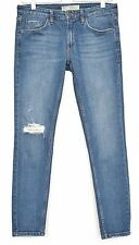 Topshop Skinny BAXTER Blue Low Rise RIPPED Crop Stretch Jeans Size 10 W28