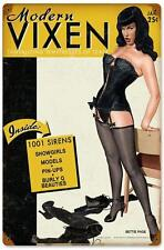 Bettie Page Pin Up Girl Vixen Tease Metal Sign Man Cave Garage Shop Club TINBPMV