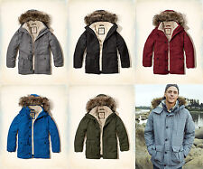 NWT Hollister by Abercrombie&Fitch Men's Coastal Trail Parka Sherpa Fur Lined