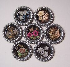 7 Flower Bottle Cap Magnets-2 Styles