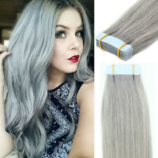 Silver Grey Remy Human Hair Extensions Seamless Tape in Skin Weft Remy Hair 7A