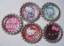 5 Hello Kitty Bottle Cap Magnets-2 Styles-Set 1