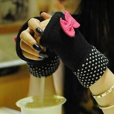 New Women Warm Sweet Bow Half Finger Gloves Computer Knitted Gloves Bowknot
