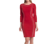 Calvin Klein Women's Red Jewel Neck Studded Sweater Dress SIZE S M L XL