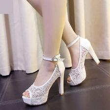 Womens Lace peep Toe Ankle Strap buckle  Block Heel Sandals chunky Bridal Shoes