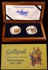Cook Islands 2005 Silver Two Coin Set Gallipoli 90th Anniversary