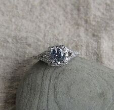925 sterling silver 1.5ct cz round solitaire with accents engagement ring SE11