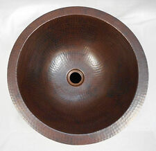 """15"""" Rustic  Self-fRimming Round Copper Bath Sink...Choice of Drain"""
