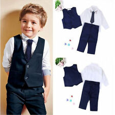 4 pcs Kids Child Boys Baby Gentleman Tops+Tie+Pants Suit Wedding Party Clothes