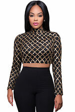 New Fashion Sexy Women Diamond Sequined Club Party Crop Tops Long Sleeve Blouse
